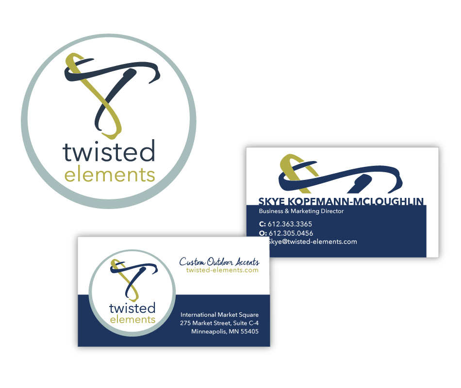 Twisted Elements logo and business cards