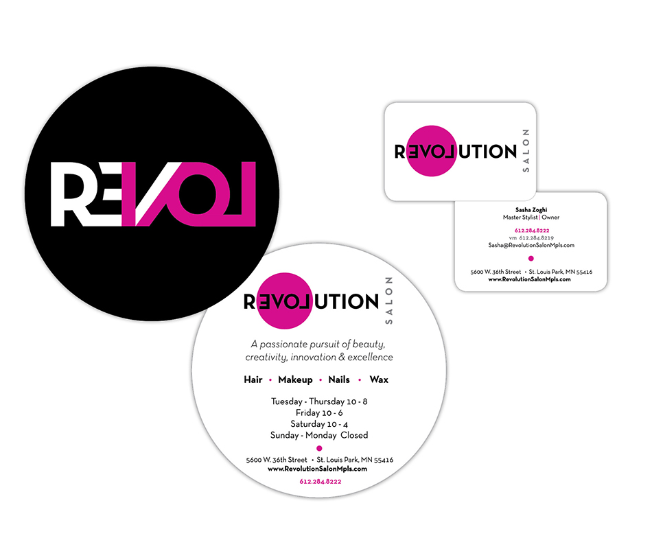 Revolution Salon business cards and welcome card