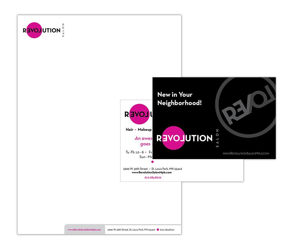 Revolution Salon letterhead, postcard offer